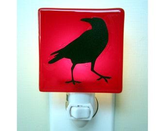 Crow Night Light - Raven Gift - Hand Painted Glass Nightlight - Red