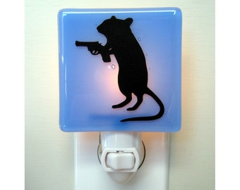 Funny Gift - Glass Night Light - Gerbil With a Gun - Dark Humor