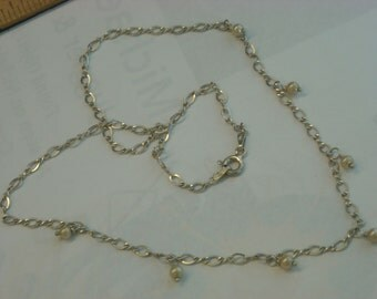 sterling silver pearls necklace  ( B 100 )