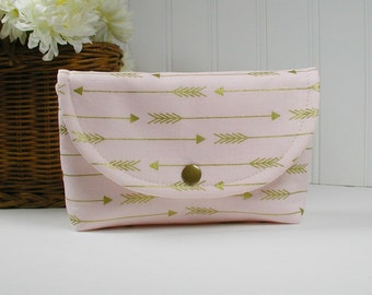 Snap Pouch, Large Snap Pouch, Cosmetic Pouch, Arrow Pouch ... Metallic Gold Arrows in Blush Pink