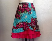Enchanted Forest ruffle front skirt Sz 12
