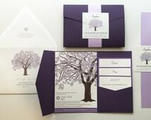 Purple Bat Mitzvah Invitations, Oak Tree Bat Mitzvah Invitation, Jewish Girls Tree of Life Invitation, Lavender Purple, Dark Pocketfold Tree