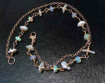 Rose Gold Bracelet Wire Wrap Ethiopian Opal Keishi Pearl Double Strand Chain Rose Gold Layer Bracelet Rosary Style Pink Gold Wire Wrap Opal