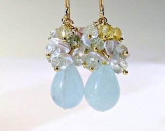 25% SALE Aquamarine Cluster Earring Ivory Keishi Pearl Cascade Waterfall Earring Gold Fill Vermeil Wedding Earring Bridal Jewelry Mother of