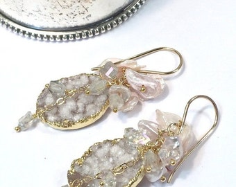 25% SALE Blush Druzy Earrings Boho Wedding Earring Blush Keishi Pearl Cluster Earring Wire Wrap Pearls AB Crystal ClusterEarring Romantic Bo