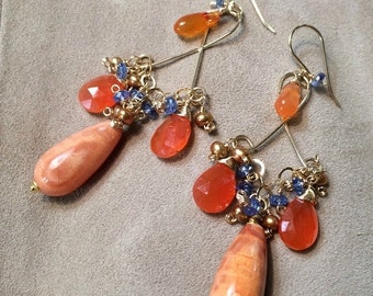 50% OFF SALE Gold Chandelier Earrings, Multicolor Wire Wrap Orange Earring, Bohemian Boho Chic Earring Orange Carnelian, Fire Agate, Kyanite