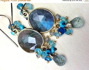 CUPID SALE Labradorite Cluster Earrings 18kt Gold Vermeil Bezel Set Dangle Moss Aquamarine Labradorite Blue Flash Turquoise Earrings