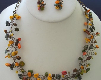 Fall Colors Green, Yellow, and Orange Wire Wrapped Bird's Nest Collar Necklace