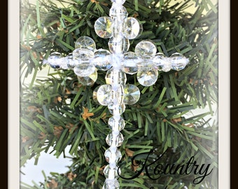 Glistening Beaded Cross Ornament /Glistening Cross Handcrafted Ornament (Ready to Ship)