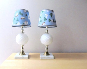 baby blue lamp shade snowbabies light blue pattern juvenile nursery room decor winter scene