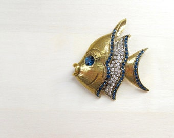 angel fish brooch sapphire blue pave rhinestones gold vintage lapel pin signed Jeanne