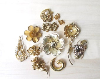 golden brooch flower pins - DIY brooch bouquet - AZ 12K mixed lot pearl rhinestone