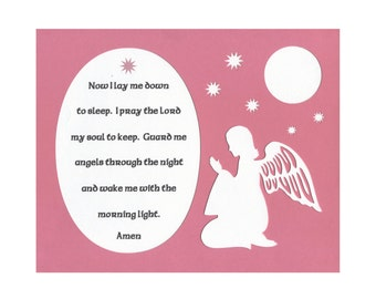 Now I lay me down to sleep...Prayer Paper Cut with Angel, Stars and Moon Wall Art Wall Decor 8X10 Unframed