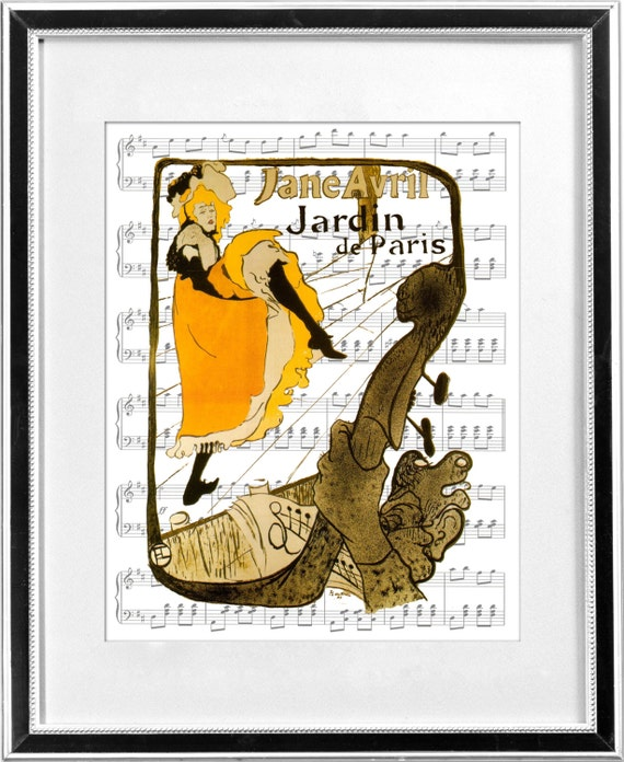 Items similar to toulouse lautrec jane avril at jardin de for Jardin de paris jane avril