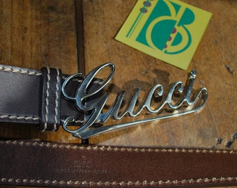 Gucci Mens Brown Leather Belt