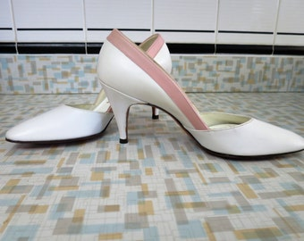1950s White with Pink Spike Heel Pumps - 6N