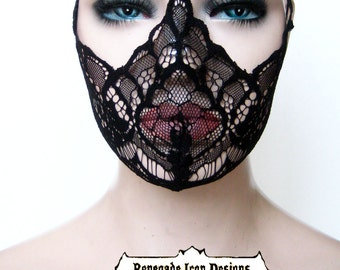 black lace, mask, fetish, lingerie, burlesque, fantasy, cos play, club wear, medical fetish, play wear: Renegade Icon Designs