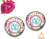 Monogram Earrings - Personalized Jewelry - Pink Aqua Floral Monogram Earrings - Monogram Gift - Monogram Jewelry - Style 639