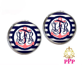 Monogram Earrings, Navy Stripe Anchor Monogram Earrings, Personalized (505)