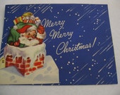 Vintage Santa Christmas Card When Opened Folds Out to a 13 Inch Long Santa With Toy Bag, Unused