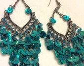 Vintage 1960's peacock colored sequins drop dangle cluster earrings.