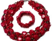 Red coral stone and 1970s vintage bead bib necklace and matching bracelet