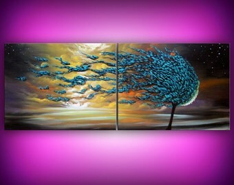 72 INCH acrylic art painting blue tree painting teal turquoise original painting contemporary blowing wind tree art Mattsart