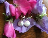 White Coin Pearl Earrings , Pearl Earrings , White Bridal Earrings , Coin Pearl Earrings by SherriGallagher on etsy