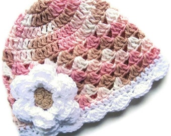 ON SALE Baby Girl Hat, Crochet Summer Hat, Baby Hat, Neopolitan Hand Crocheted Baby Girl Cotton Crochet Scalloped Beanie Hat,  MADE To Order