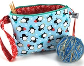 SALE - Knitting Crochet Project Bag Clutch - Winter Holiday - Chilly