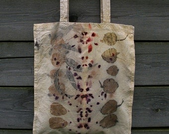 Eco print canvas cotton tote bag