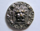 Small Silvered Brass Mask Picture Button Paris Backmark