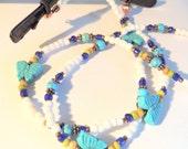 Butterfly Eyeglass Lanyard, Eyeglass Leash, Handcrafted Lanyard, Eyeglass Jewelry, Turquoise and Copper, Native Style, Gemstone Lanyard
