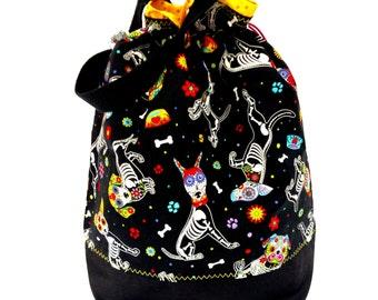 Large Knitting Project Bag Crochet Drawstring Tote WIP Bag -  Sugar Skull Puppy
