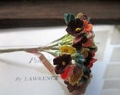 Three Bouquets Old Fashioned Millinery Flowers * Crafting Supplies * 40 Vintage Flocked Miniature Flower Bunch * 1960's 70's Floral Supply
