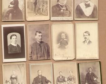 12 Different Antique CDV Photographs 1860-1880 Men Women Children  Historic Lot67