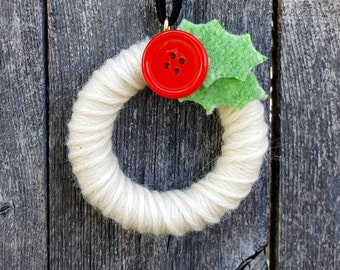 Rescued Mini Wool Wreath Ornament - Ivory with Holly