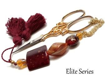 Dark Cinnamon Red Golden Amber Scissor Fob Scissor Keeper Scissor Minder Cross Stitch Needlepoint Hardanger Sewing Quilting OOAK