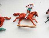 Timpo Swap-It  cowboys and marshall on hosrseback x 3 British plastic figures circa 1960s / 1970s