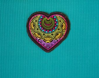 Mandala Heart Embroidery Mehndi Yoga Mat Accessory Meditation Recycled Wool Felt Swirls Henna Colorful Flower