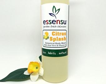 Citrus Splash Aloe Vera Best Natural Botanical Body Wash | Suitable for Sensitive Skin | Soothing Botanicals | Vegan | No Sulfates - 8 oz