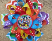 Mickey Mouse Clubhouse Inspired Custom Boutique 3 Layer Loopy Flower Boutique Hair Bow