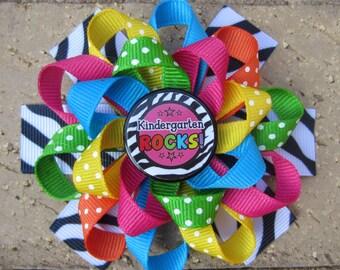 Kindergarten Rocks, 1st Grade Rocks Custom Boutique 3 Layer Loopy Flower Boutique Hair Bow for Back to School Preschool