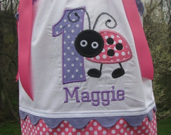 ladybug dress in Pink and purple,ladybug birthday, ladybug pillowcase dress, 1st birthday , 2nd birthday,any name and number
