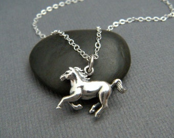 """galloping horse necklace. small sterling silver pride pendant. equestrian love realistic charm gift animal lover simple equine jewelry 3/4"""""""