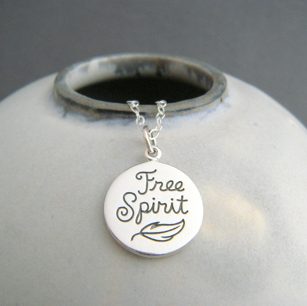 sterling silver free spirit necklace small inspirational