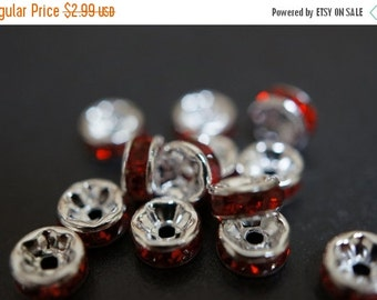 ON SALE Silver Plated Rich Fire Ruby Red Rhinestone Spacers - 6mm - 15 pcs