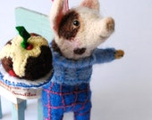 Needle Felted Animal Pig in Pants with Plumb Pudding
