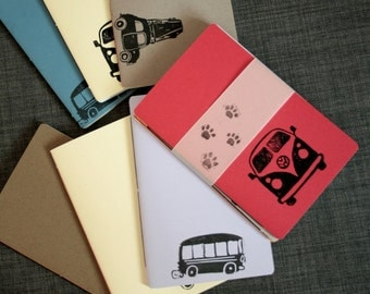 Travel Notebook, Set of Three, Car Themed Jotter Journal, 168 pages to fill