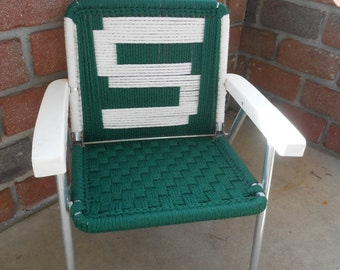 Vintage Mid centuryChildrens Folding Lawn Chair with Macrame Aluminum Frame Retro rocking chair Green MSU State